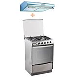Klimatic Cocina 4 hornillas Stellare + Campana Extractora IWH IXG